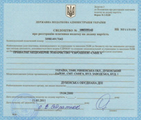 Certificate of VAT payer